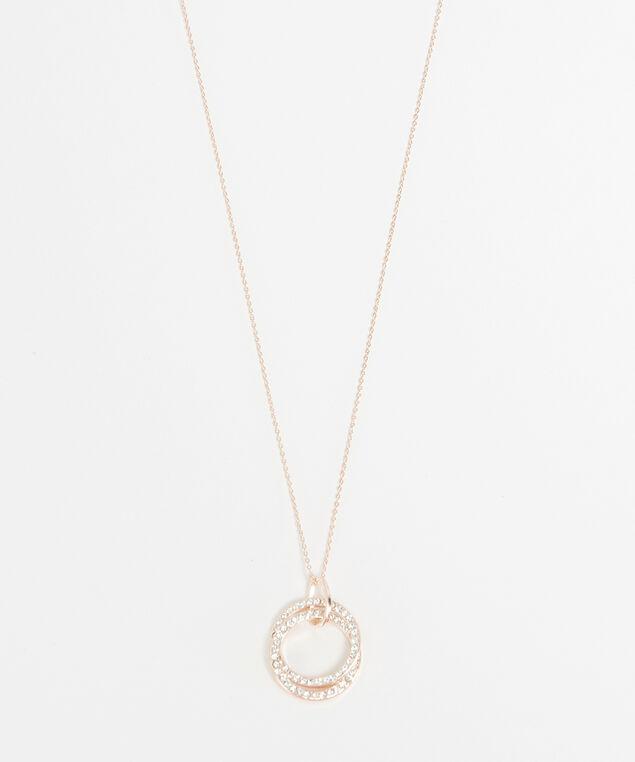 rhinestone circle necklace, Rose, hi-res