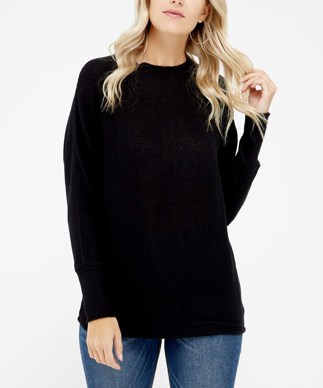 ribbed mock neck - wb, Black, hi-res