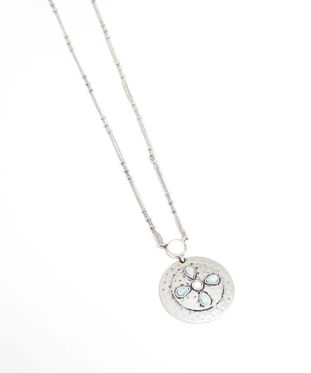 flower stone pendant necklace, Silver, hi-res