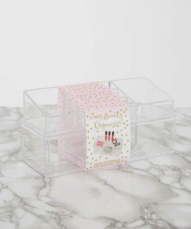 2 piece beauty organizer, CLEAR, hi-res