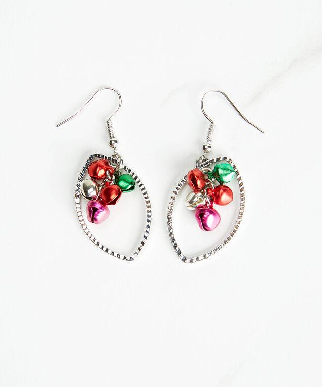 Jingle bell leaf earrings, Silver, hi-res