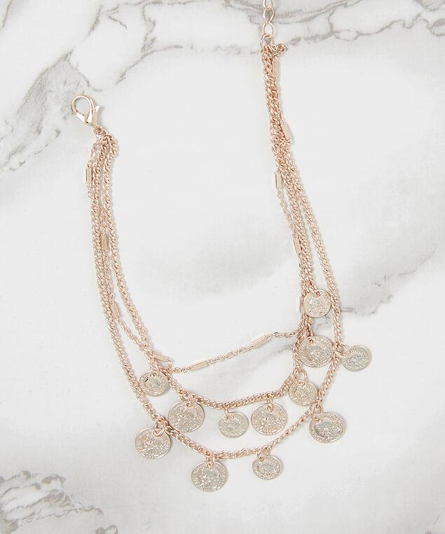 multi chain medallion anklet, ROSE GOLD, hi-res