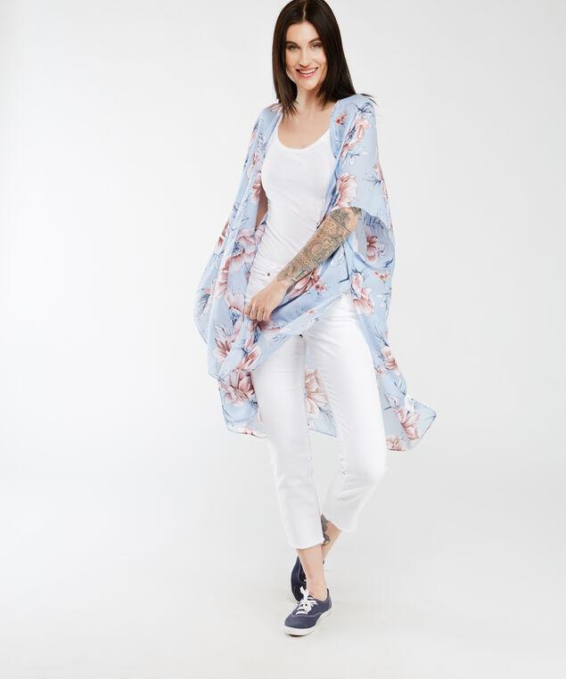 floral kimono, Lt Blue