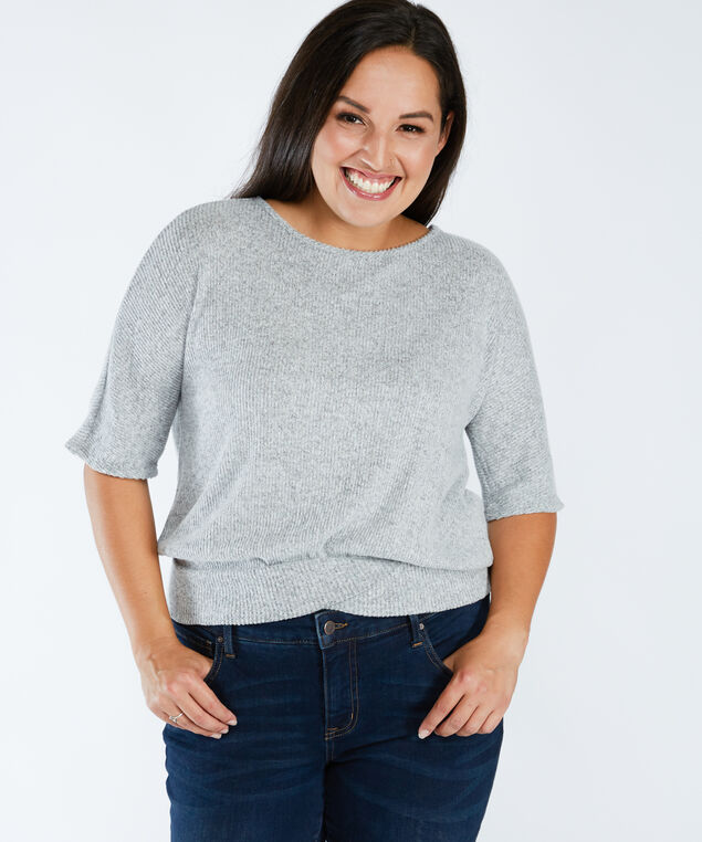 extended sleeve top, Heather Grey