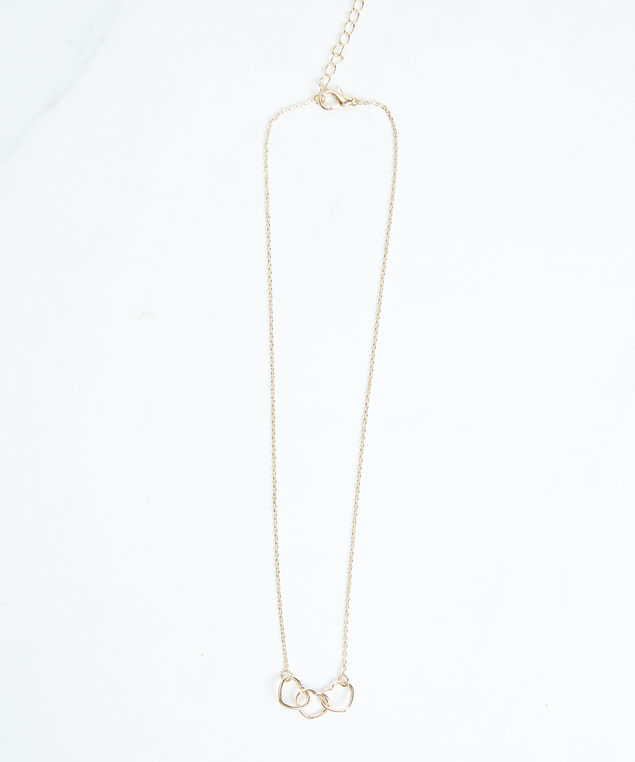 linked hearts necklace, Gold