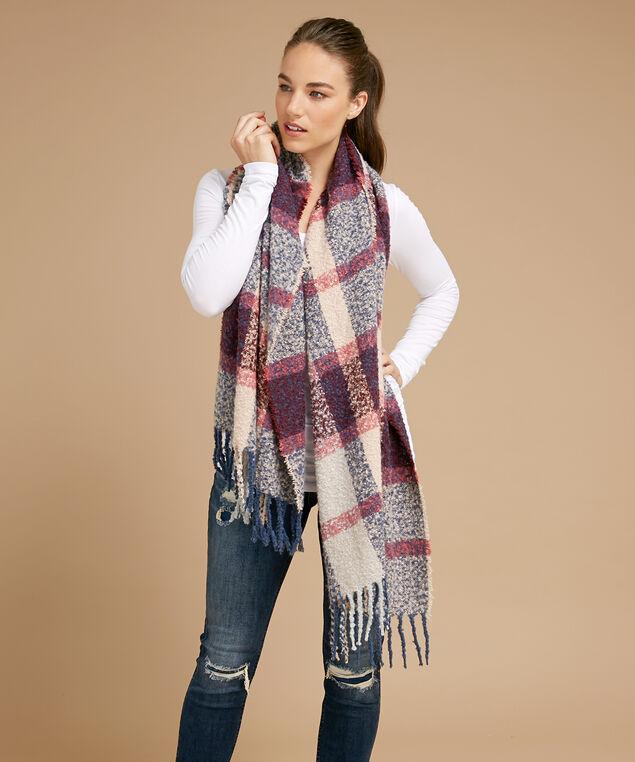plaid blanket scarf, BLUE COMBO, hi-res