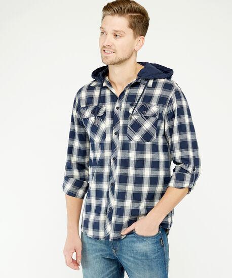 hooded shirt, Navy, hi-res