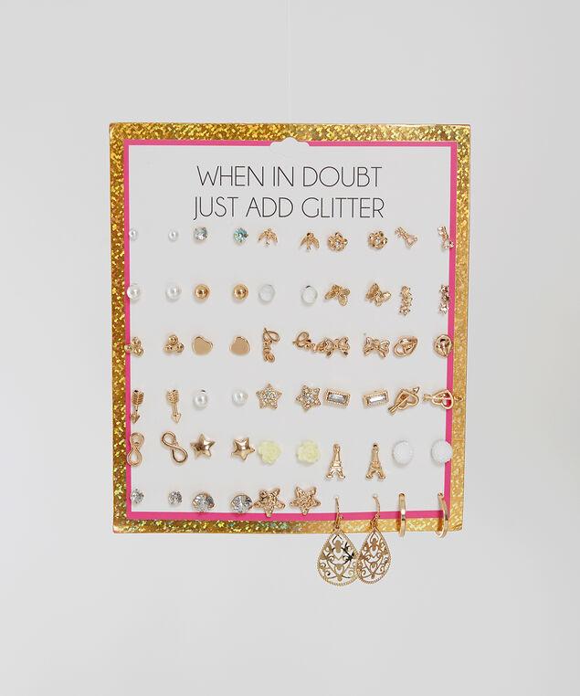multi pack earrings, Gold, hi-res