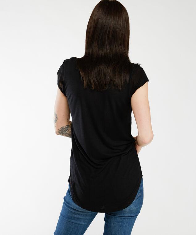 short sleeve lace insert tee, Black