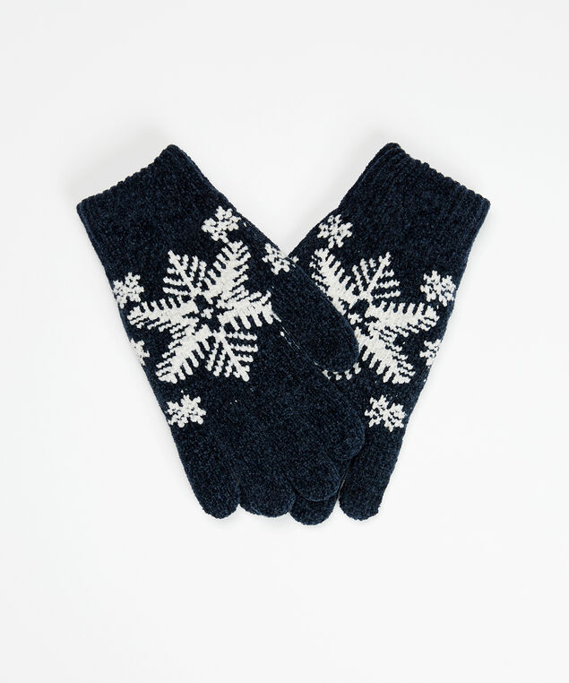 snowflake intarsia gloves, Black, hi-res