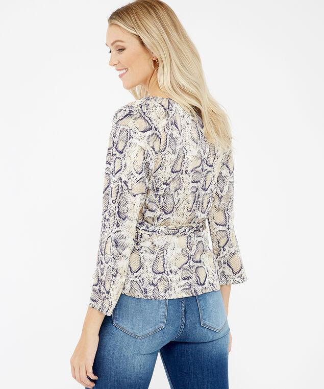 snakeskin wrap front blouse - wb, Snake, hi-res