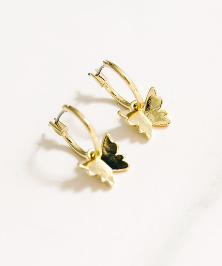 butterfly dangle hoop, Gold, hi-res