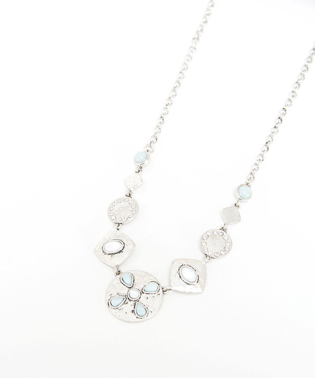 flower stone necklace, Silver, hi-res