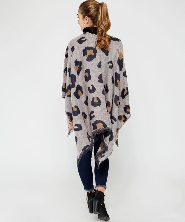 leopard print reversible poncho, Leopard, hi-res
