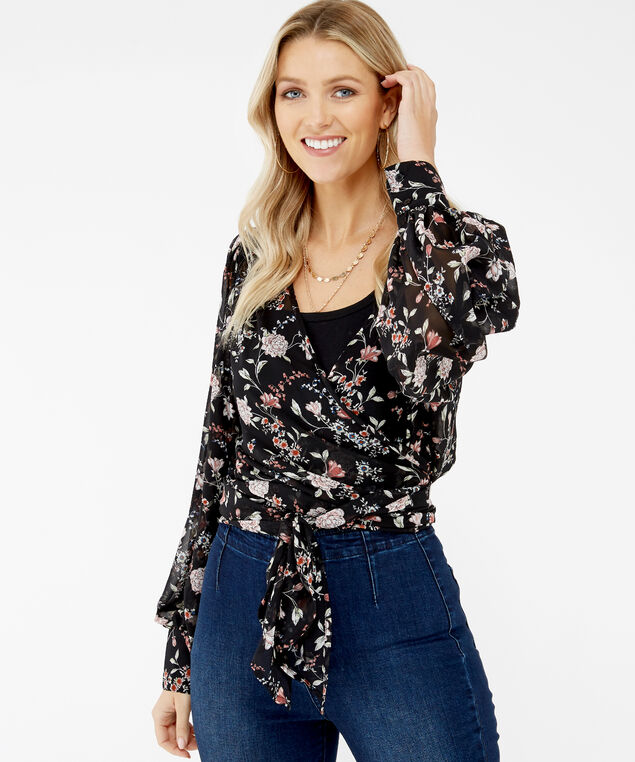 wrap blouse - wb, Black Floral, hi-res
