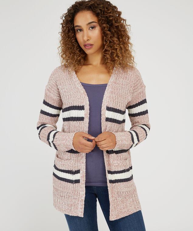 striped cardigan - wb, MAUVE COMBO, hi-res
