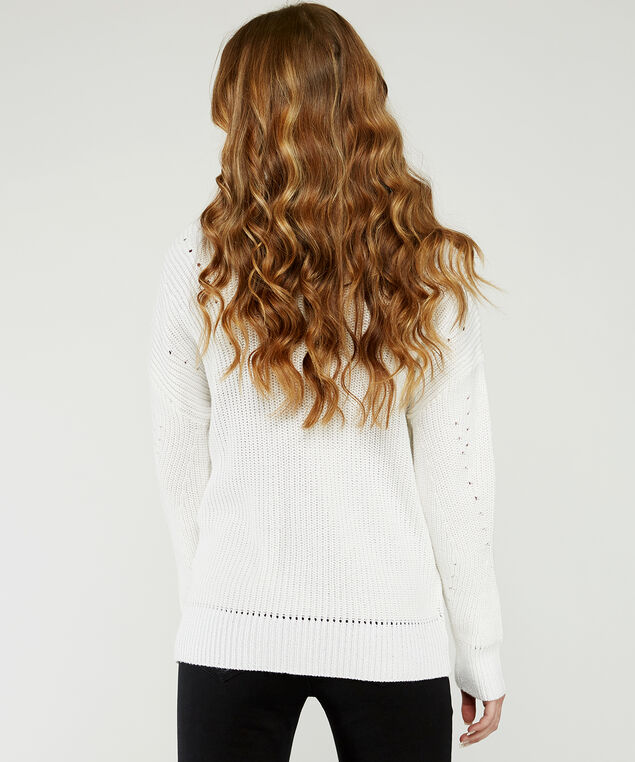 long sleeve cardigan - wb, White