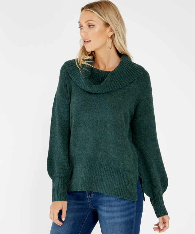 cowl neck sweater - wb, Green, hi-res