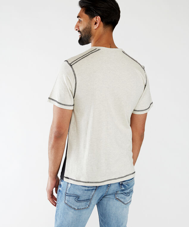 short sleeve henley tee shirt, Cream Combination