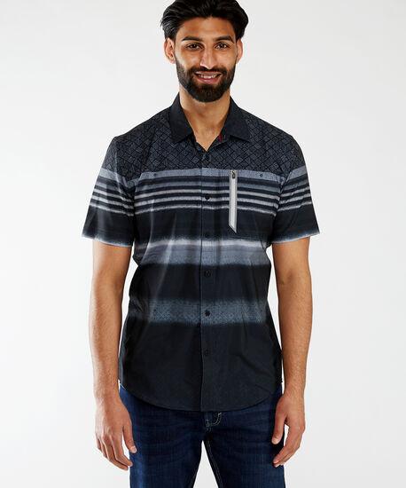 ss printed wicking shirt, Black, hi-res