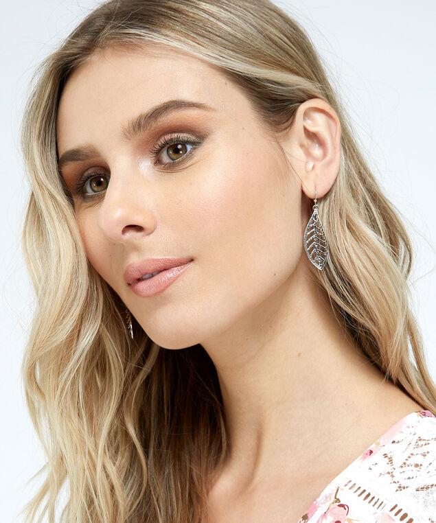 silver leaf earrings, SILVER, hi-res