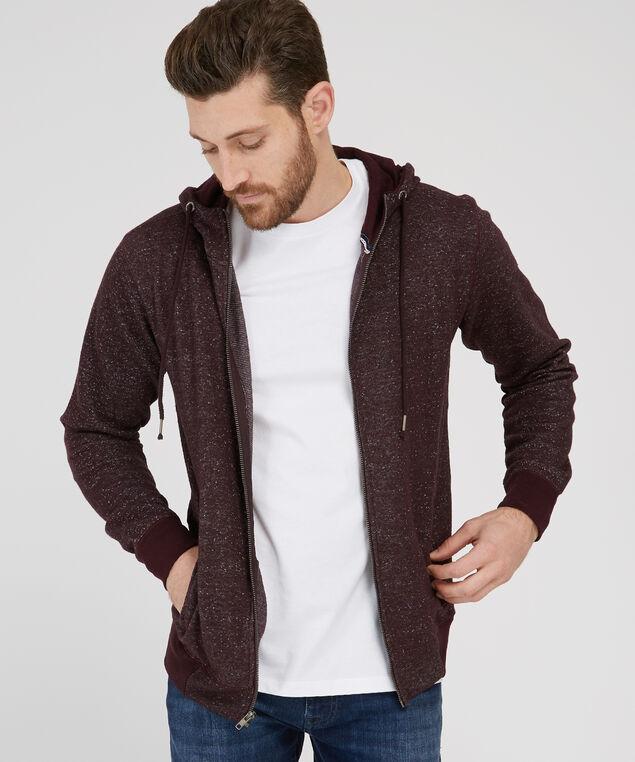 zip front hoodie, WINE, hi-res