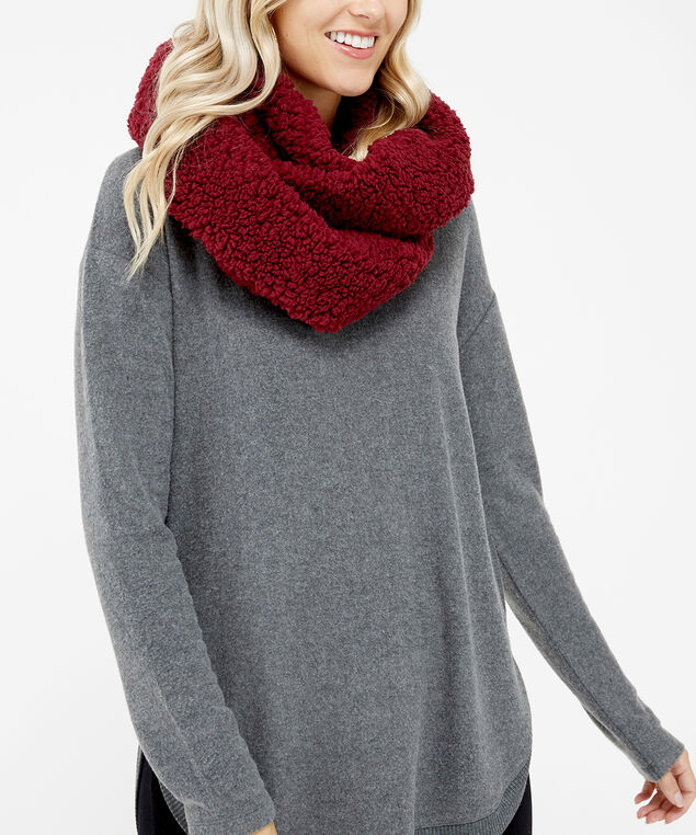 sherpa infinity scarf, WINE, hi-res
