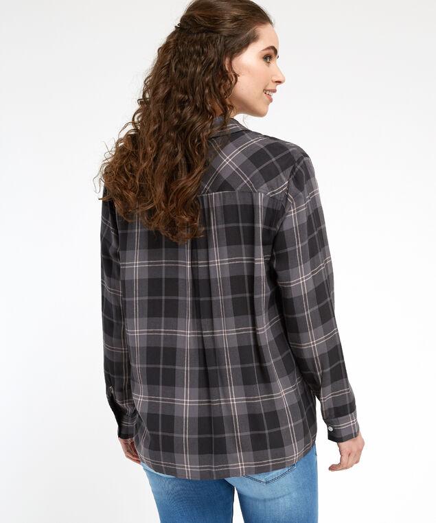 long sleeve plaid shirt - wb, DARK GREY, hi-res