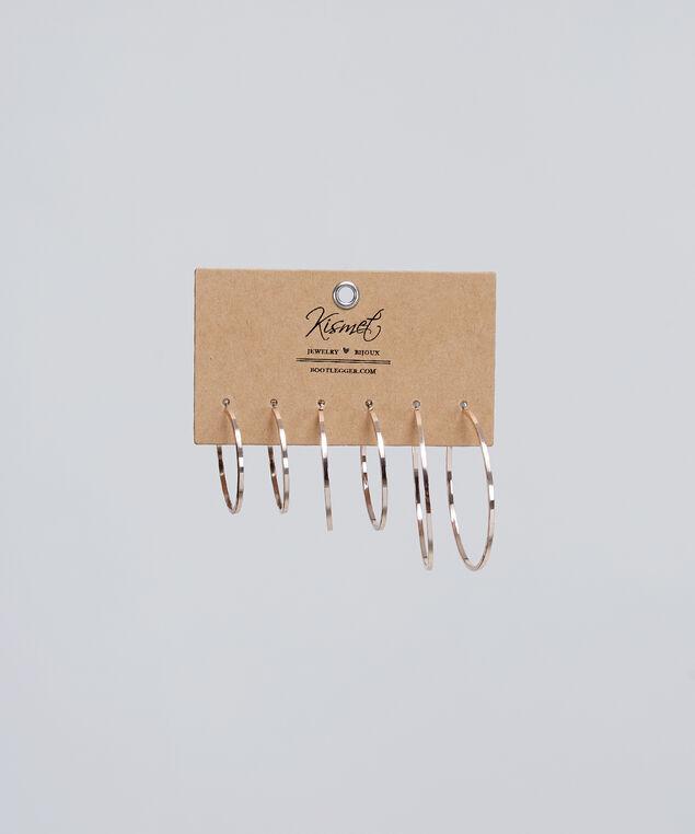 three pack hoop earrings, ROSE GOLD, hi-res