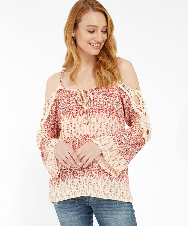 cold shoulder with lace - wb, IVORY/PINK, hi-res