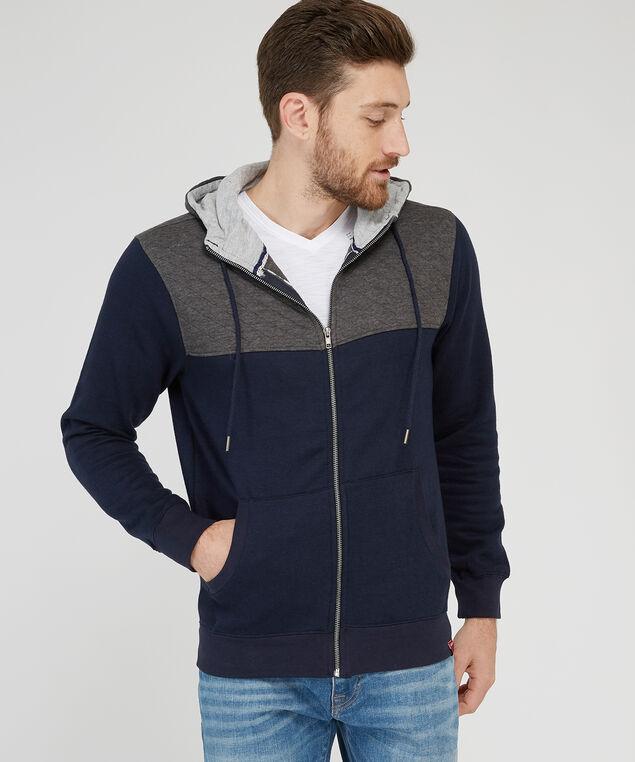 fleece hoodie with contrast yoke, NAVY, hi-res