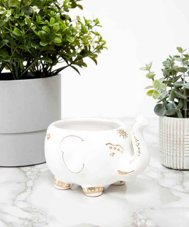 ceramic elephant candle, WHITE, hi-res