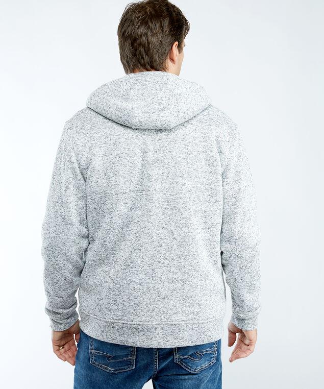 heather grey melange sherpa hoodie, Medium Grey