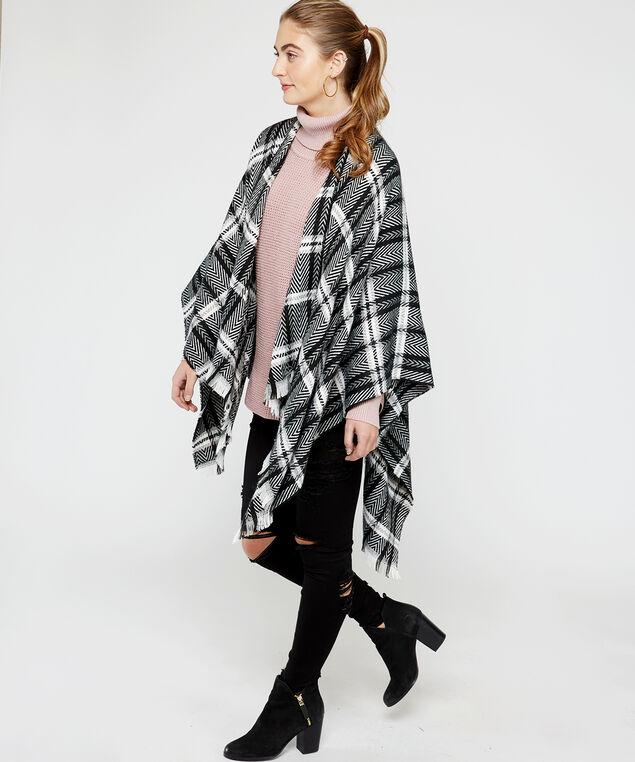 plaid poncho with frayed edge, Black, hi-res