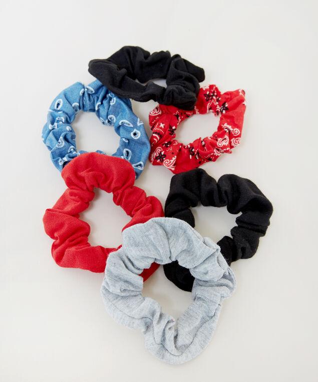 6 pack bandana scrunchies, MULTI, hi-res