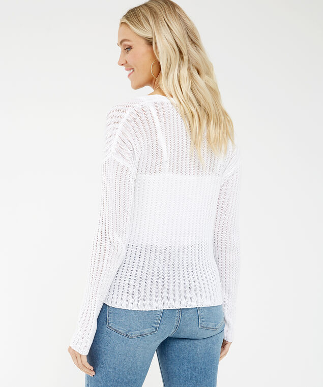 tie front pointelle stitch cardigan - wb, White, hi-res