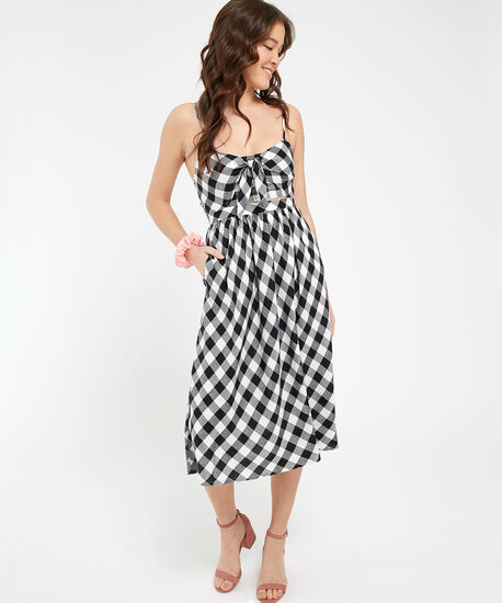 keyhole cutout dress - wb, OFF WHITE GINGHAM, hi-res