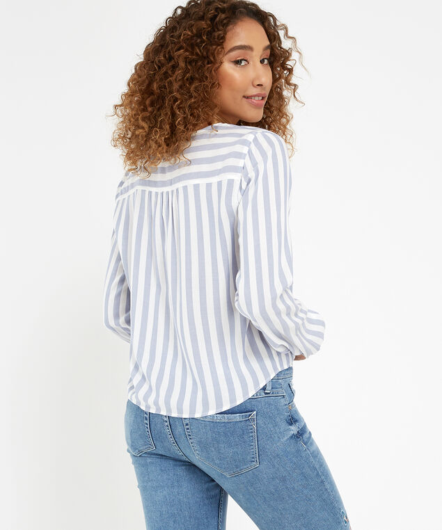 tie front striped shirt - wb, IVORY/BLUE, hi-res
