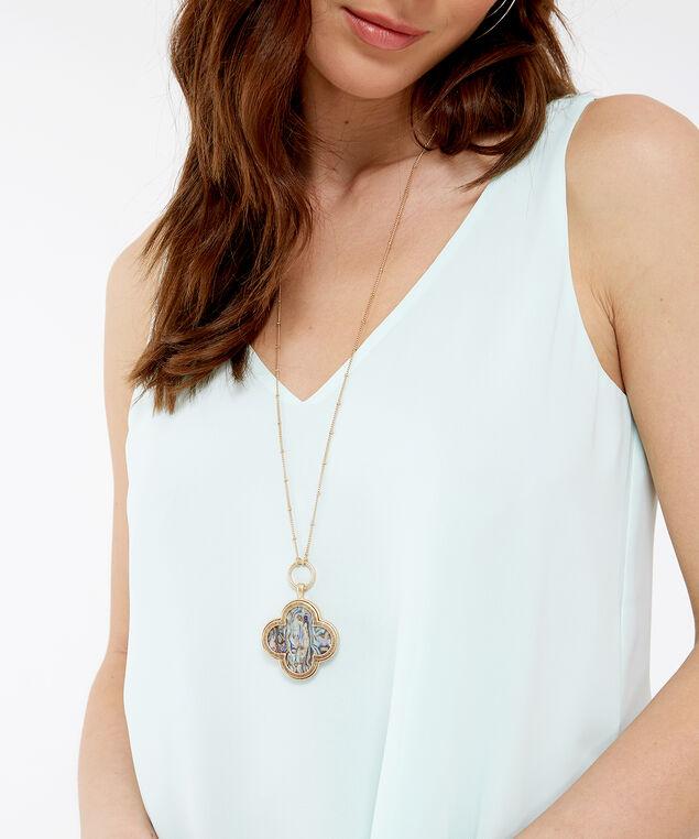 long necklace w 3d pendant, GOLD, hi-res