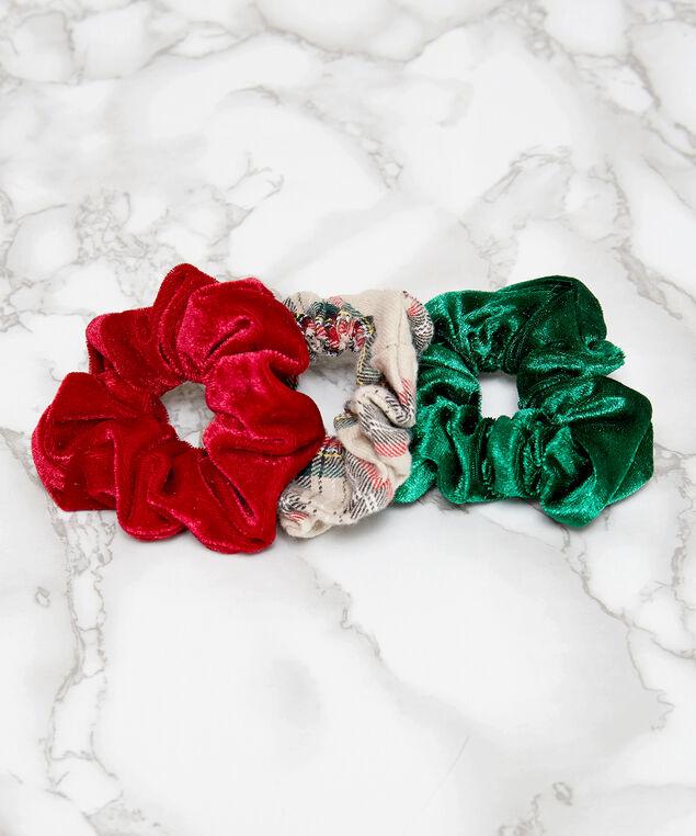 3 pack velvet scrunchies, ASSORTED, hi-res