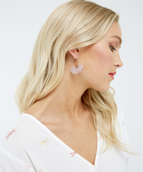suede fringe earrings, Gold, hi-res