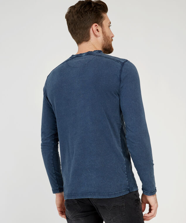 henley knit tee, DENIM, hi-res