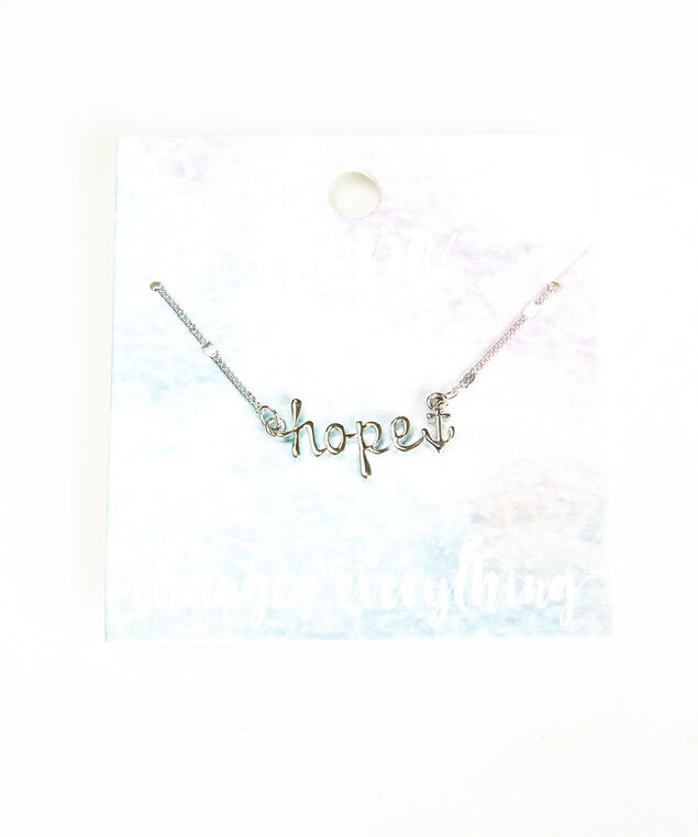 hope changes everything necklace, Silver