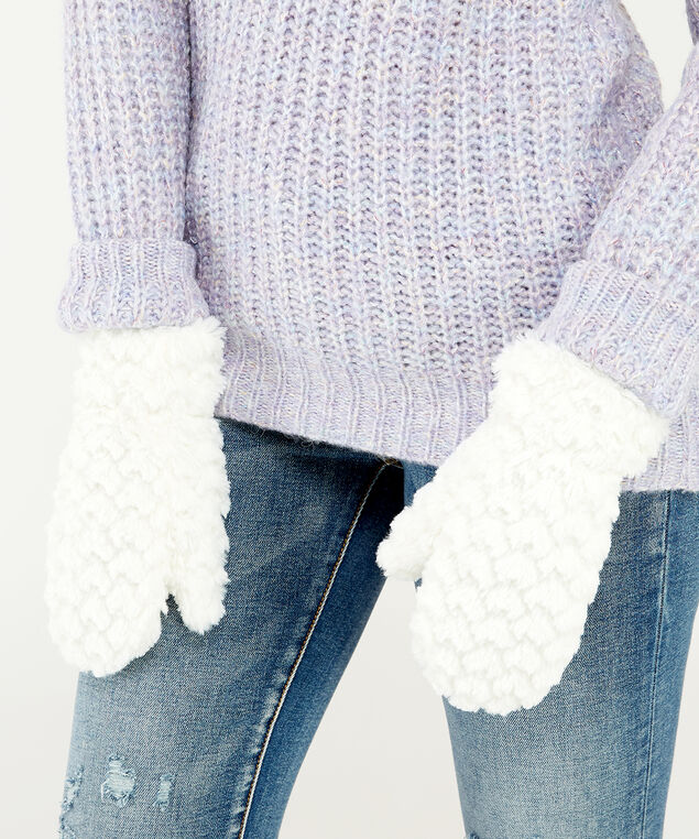 soft textured mittens, IVORY, hi-res