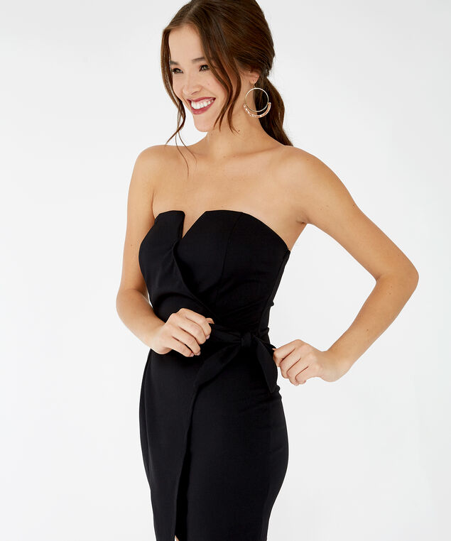 strapless tie front dress - wb, Black, hi-res