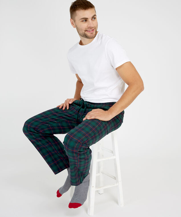 men's flannel pajama pant, GREEN/NAVY, hi-res