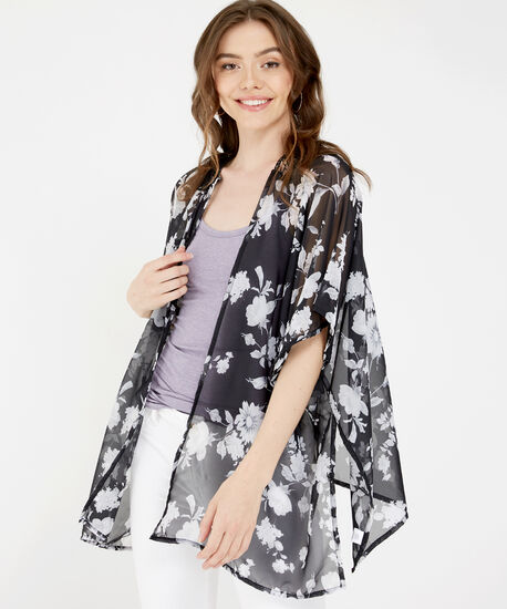 black and white floral kimono, BLACK, hi-res