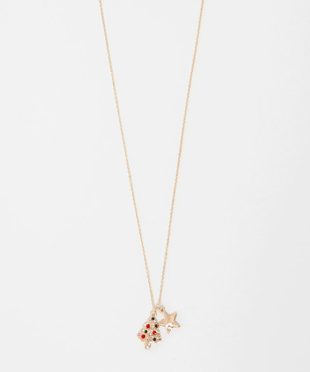 holiday tree charm necklace, Gold, hi-res