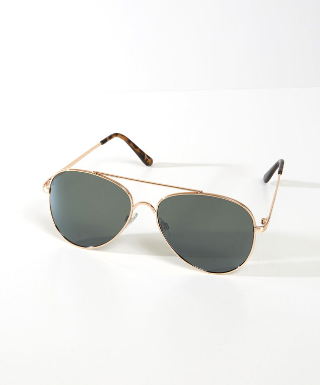 metal aviator sunglasses, Gold, hi-res