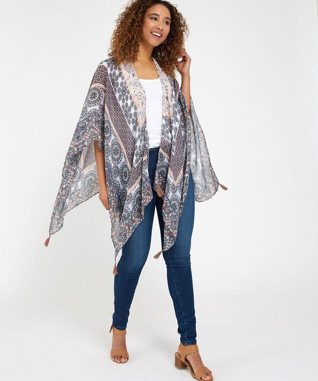 printed kimono, GREY PRINT, hi-res